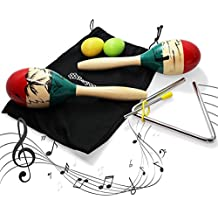Stargoods Maracas Percussion Set (pair), 2 Egg Shakers & Music Triangle with Metal Beater