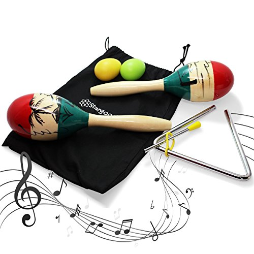 Stargoods Maracas Percussion Set pair, 2 Egg Shakers & Music