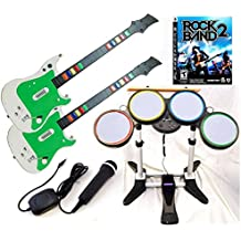Playstation 3 PS3 Rock Band 2 Video Game Complete Bundle with 2 Wireless Guitars, Wireless drums + USB Microphone hero kit set play music