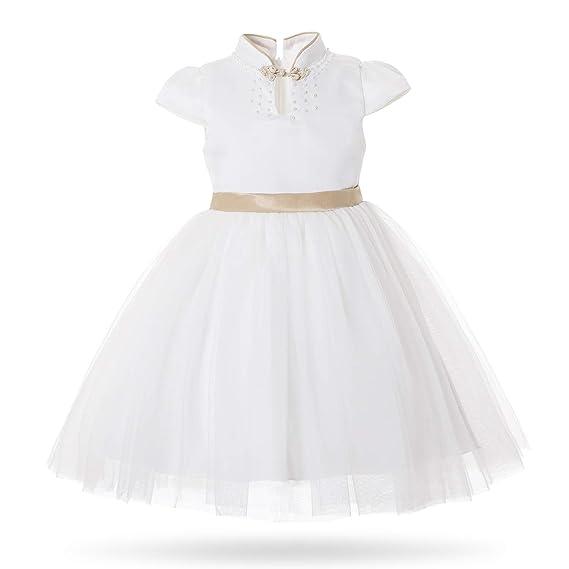 688e061332 Cielarko Girl s Dress for Party Birthday Flower Girl Big Bow Elegant Ball  Gown