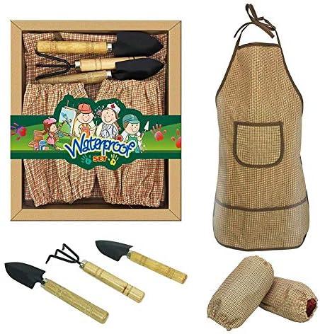 ZQHWH Luxus Kinder Garten-Set mit Schürze, Ärmel, Mädchen und Jungen, wasserdichte Schürze Schutz und Fronttasche (6 Stück)