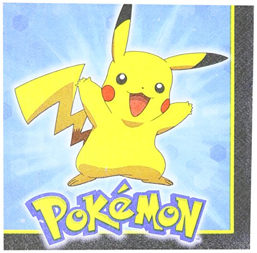 Amscan-Electrifyingly-Cute-Pikachu-Friends-Birthday-Party-Beverage-Napkins-Tableware-16-Pack-5-x-5-Blue