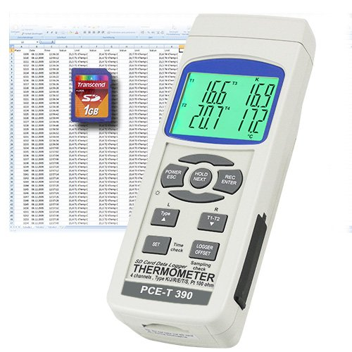 PCE Instruments Temperature Meter PCE-T390 with Type-K, J and PT100 temperature sensor inputs, with data logger by PCE Instruments