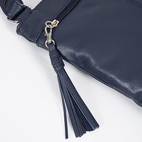 Cross Leather Tassel Bag Alexis Navy Body Soft Detail Grained w Women's Pocket tqOpwI1