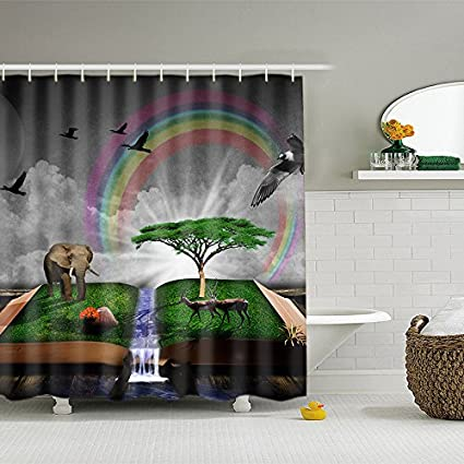 ALDECOR Funny Elephant Shower Curtain Deer Eagle Under Rainbow Printed Polyester Fabric