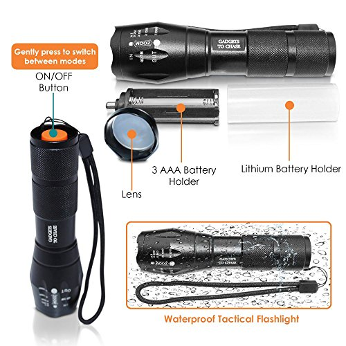 Ultra Bright LED Tactical Flashlight by Gadgets to Chase Best for Indoor and Outdoor Activities - Waterproof and Portable Torch with Powerful Light Bulb - High Intensity Military Grade Flashlights