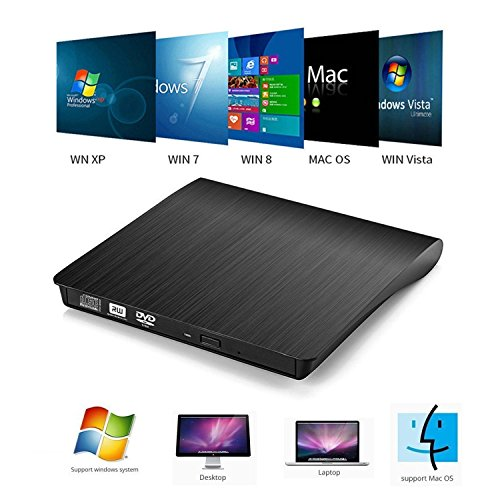 External CD DVD Drive , Portable DVD Rewriter Burner, USB 3.0 DVD Drive CD +/-RW DVD +/-RW Burner Super Drive for Apple Mac Macbook Pro Windows 10 Laptop PC (Black) by feifuns (Image #5)