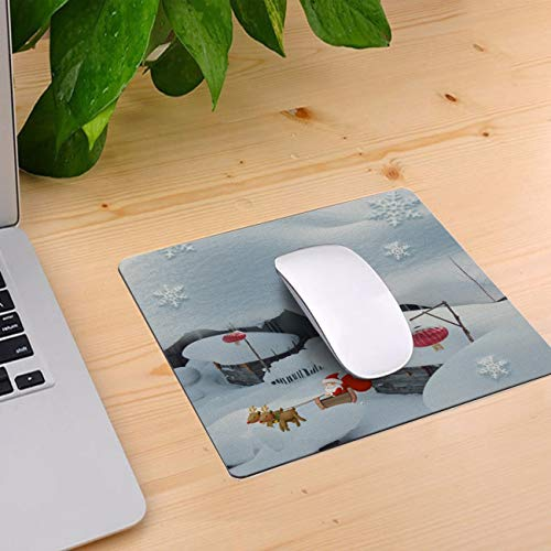 Computer Mouse Pad Custom, Christmas Themed Santa Claus and Snow House Mouse Mat Non-Slip Rubber Base and Jersey Surface Gaming Mouse Pad for Laptop/Desktop/Office/Home 10 x 9 inch ()