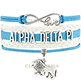ALPHA DELTA PI Lion Love Charm Bracelet Sorority Pledge College Student Gift Infiniti Jewelry