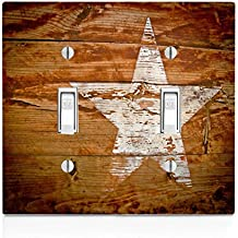 White Star on Wood Background Double Light Switch Plate