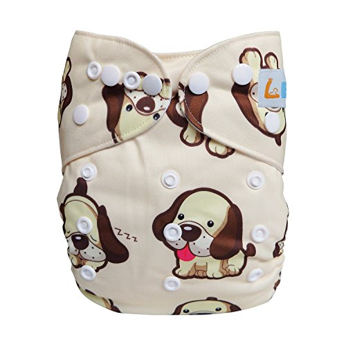 LBB One Size Reusable Pocket Cloth Diapers for Baby Girls and Boys, Cute Dog