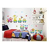 Funny Adhesive Rooms Walls Vinyl DIY Stickers / Murals / Decals / Tattoos For Kids Bedrooms / Nurseries With Happy Animals Riding On Train Wagons Designs In Many Colours By VAGA