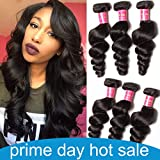 ALI JULIA 20 18 16 Inch 10A Brazilian Loose Wave Hair Weave 3 Bundles 100% Unprocessed Virgin Human Hair Weft Extensions 95-100g/pc Natural Color