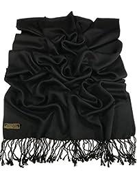 CJ Apparel Black Solid Color Design Nepalese Shawl Pashmina Scarf Wrap Stole Seconds NEW