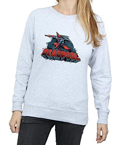 Deadpool De Mujer Camisa Marvel Gris Cuero Logo Entrenamiento Sword vaxwZ