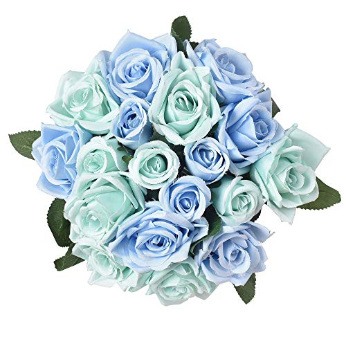 Furnily Fake Flowers 2 Bouquets 18 Heads Silk Rose Flowers Wedding Bridal Bouquet Artificial Flowers for Hotel Office Party Banquet(Blue,No Vase)