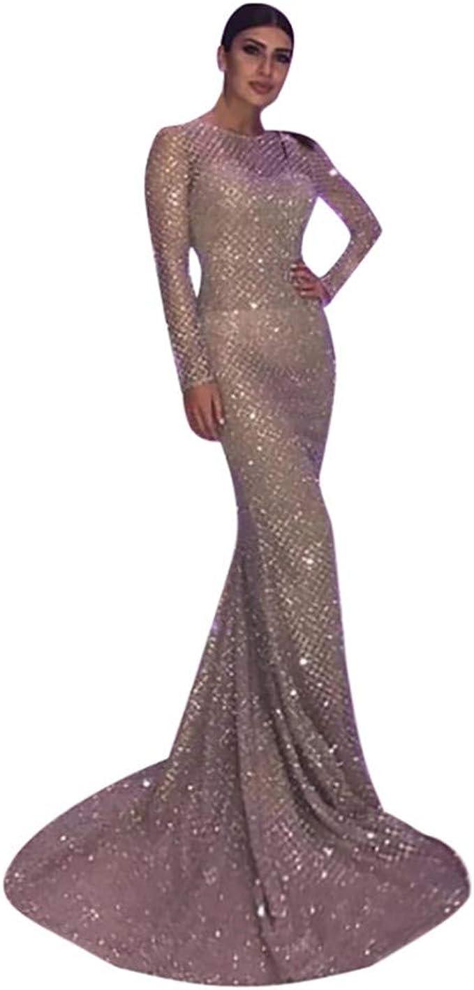 MAYOGO Abendkleider Damen Bodenlang Elegant Fishtail Kleid