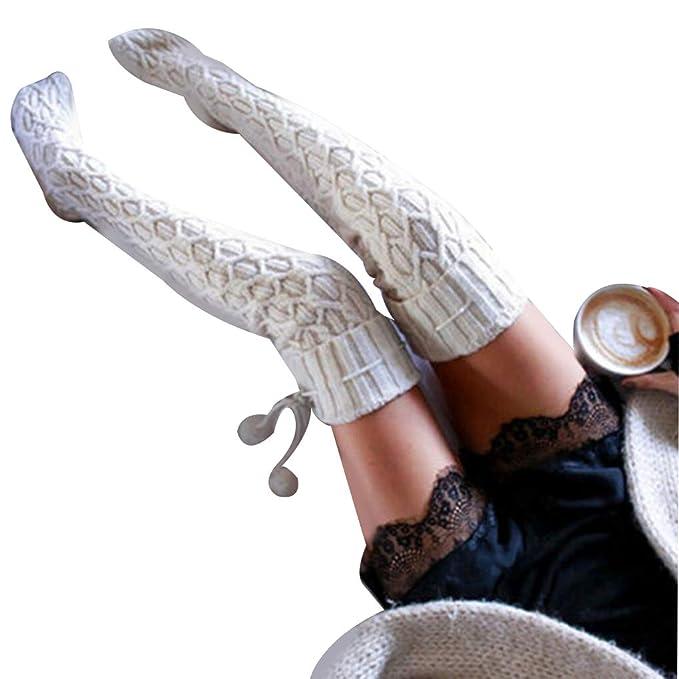 Calcetines largos de punto para mujer para la rodilla de invierno ...