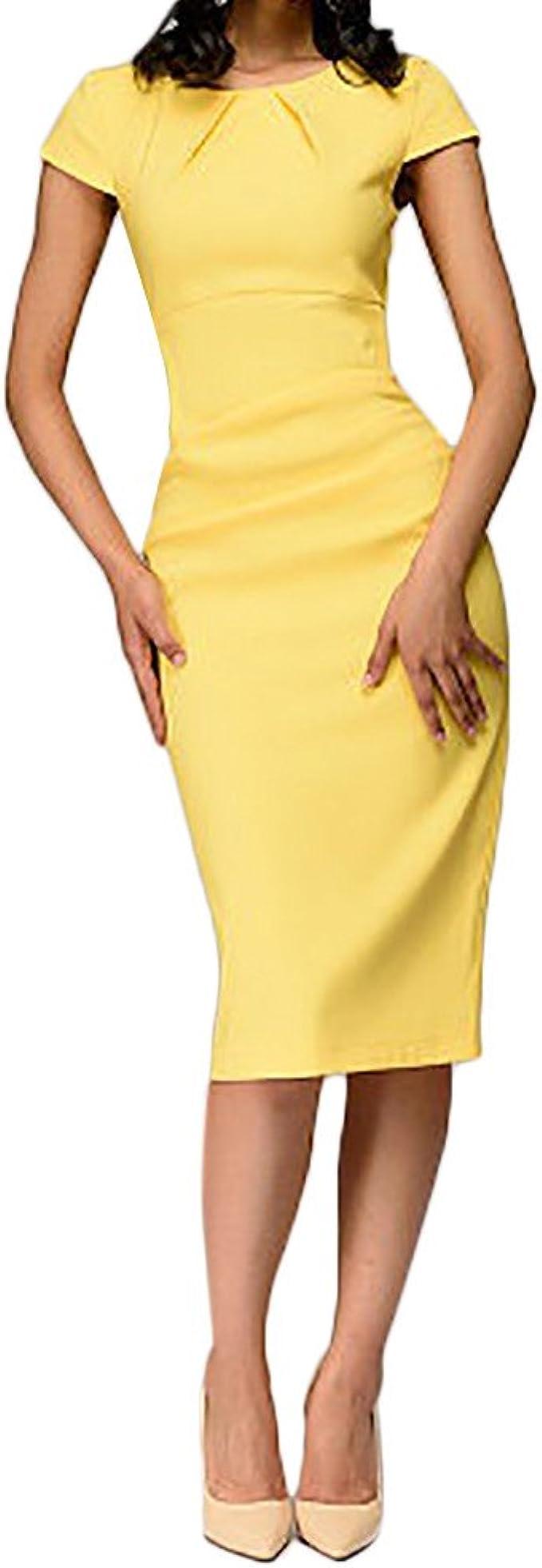 Longra Damen Etuikleid Business Kleider Bodycon Bleistiftkleid