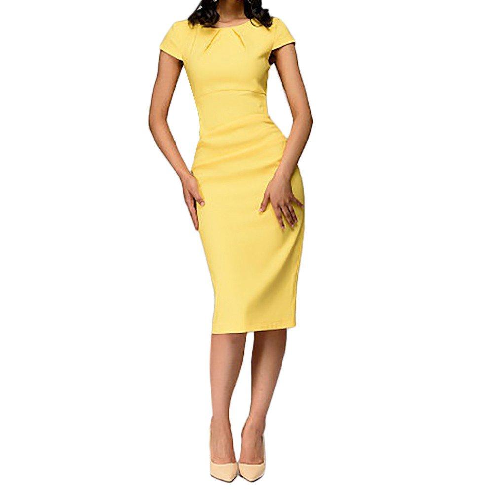 Vickyleb Women Solid Dresses,Summer Casual Solid Short Sleeve Dress Slim Pencil Mini Dresses Knee-Length Dress Yellow