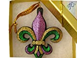 Mardi Gras Ornament with GIFT BOX Bow, Tag Fleur de Lis Carnival AO