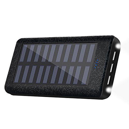 Solar charger 24000mah HuaF Portable Battery Pack Phone Charger 3 USB Ports(1A+2A+2A) Backup Battery For iPhone iPad Samsung HTC Cellphones Tablet And More