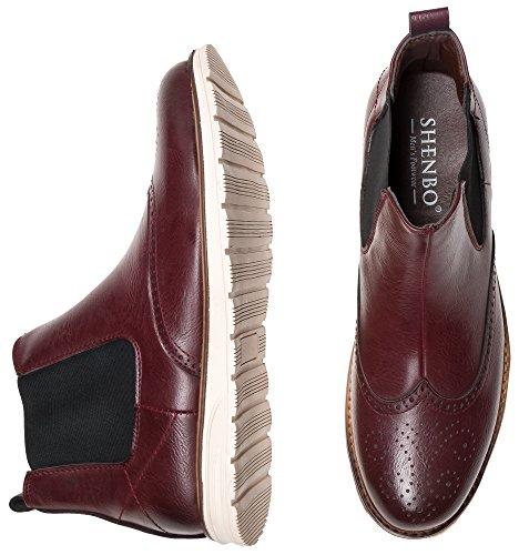 Shenbo Menns Burgunder Chelsea Boots Red
