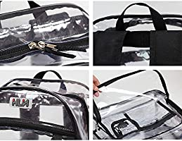 iFANS Clear Backpack Leisure Bag Heavy Duty Transparent Bookbag for School Sporting Events IF-32018 Off-White