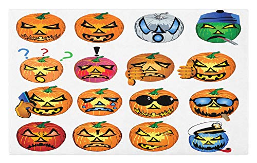 Ambesonne Halloween Doormat, Carved Pumpkin with Emoji Faces Halloween Inspired Humor Hipster Monsters Artwork, Decorative Polyester Floor Mat with Non-Skid Backing, 30 W X 18 L Inches, Orange ()
