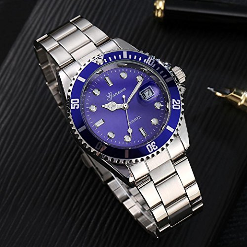 Quaanti Waterproof Men Luxury Business Fashion Date Military Sport Stainless Steel Analog Quartz Wrist Watch Clock (Blue)