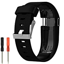 Bands for Fitbit Charge Heart Rate - Adjustable Soft Silicone Replacement Bands Sports Accessories Straps for Fitbit Charge HR + 2 Screw Drivers