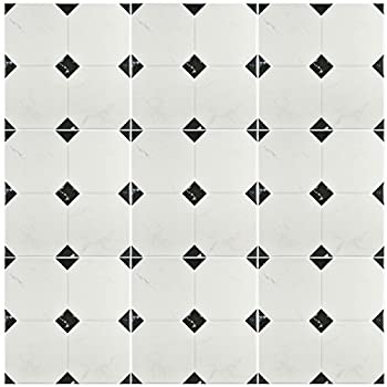 "Somertile Fem13btb Areba Ceramic Floor & Wall Tile, 13.125"" X 13.125"", Blackwhite 3"