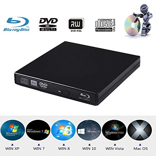 (Xglysmyc USB2.0 External Blu Ray CD DVD Drive Burner,Slim Portable CD DVD RW BD-ROM Player Writer for Laptop Desktop Notebook Support Mac OS Windows XP/7/8/10 (Black))