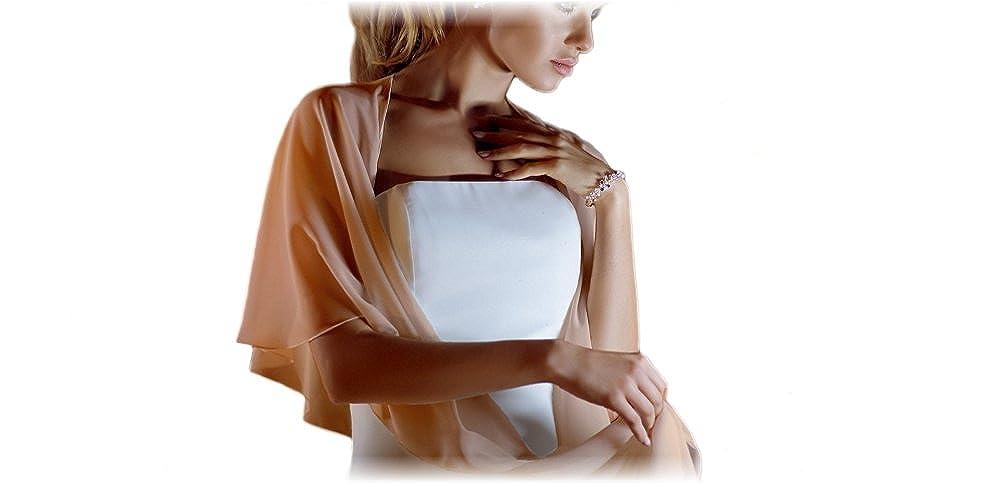 NERO Stola siede bene senza scivolare BLU SCURO Chiffon Stola perfetto per tutti abiti da sposa o abiti da sera I colori: BIANCO AVORIO