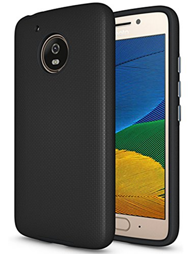 Protective Cover Anti Slip (Moto E4 Case (U.S. Edition), Dretal [Shock Absorption] Ultra-thin Anti-slip Armor Silicone Rubber Heavy Duty Hybrid Protective Cover For Motorola Moto E4/Moto E (4th Generation)(Black))