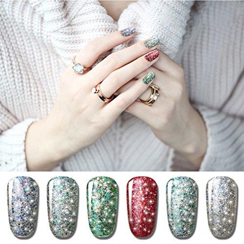 CLAVUZ Glitter Gel Polish Soak Off Starry Gel Nail Lacquer Set 6pcs Nail Art Manicure New Starter Gift Kit
