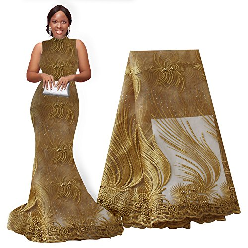 pqdaysun African Lace Fabric Nigerian French Lace Net Fabric Embroidered Fabric for Wedding Party F50721 (Gold)