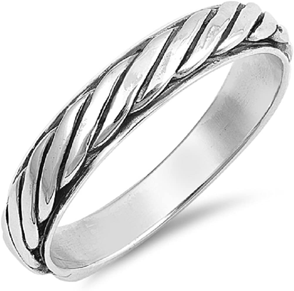Princess Kylie Sterling Silver Stackable Rope Band Ring