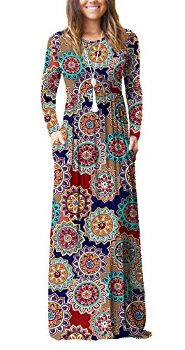 Viishow Women's Long Sleeve Floral Dress Loose Plain Maxi Dresses Casual Long Dresses with Pockets(Round Floral Navy Blue,2X-Large)