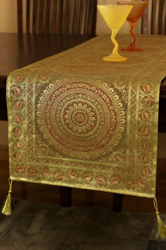 Exotic Oriental Table Runner (Dark Gold, 70