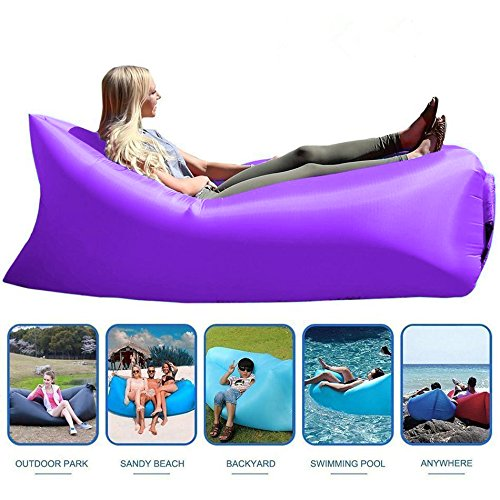 Inflatable Lounger With Travel Bag, Perfect for Indoor or Outdoor Hangout (BLACK) (Purple)