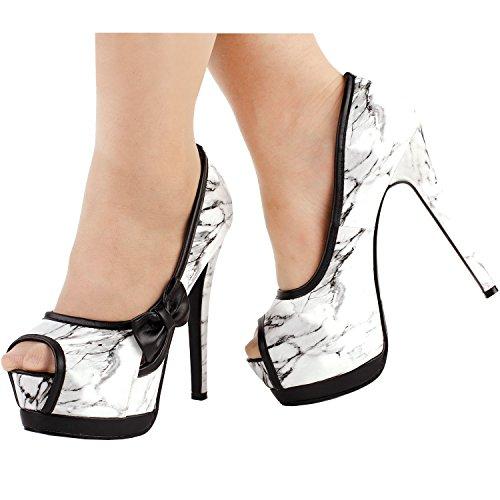 Mostrar historia Sexy mujeres 2 tono arco Peep Toe plataforma Stiletto bombas zapatos, YFA1501 Marmoleo