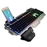 Haoztec Professional Gaming Keyboard 8 LED Backlit Modes with Phone Holder Mechanical Feeling 104 Keys Waterproof for PC Laptop (Silver)
