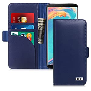 OnePlus 5T Case, FYY [RFID Blocking wallet] Genuine Leather 100% Handmade Wallet Case Credit Card Protector for OnePlus 5T Navy Blue