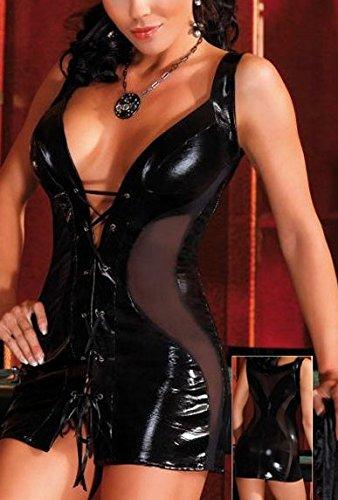 Sexy en cuir noire Faux Courtes Robe Mesh Panneaux Taille 38-40