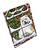 Please Come Home For Christmas Chow Chow Dog Sitting In Window Art Portrait Print Woven Throw Sherpa Plush Fleece Blanket (60x80 Fleece)