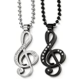 Best COOLSTEELANDBEYOND Friend Male Necklaces - A Pair His Hers Silver Black Steel Music Review