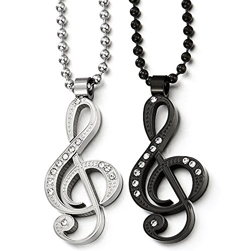 (COOLSTEELANDBEYOND A Pair His Hers Silver Black Steel Music Sign Pendant Necklace with CZ for Lovers Couples Friends)