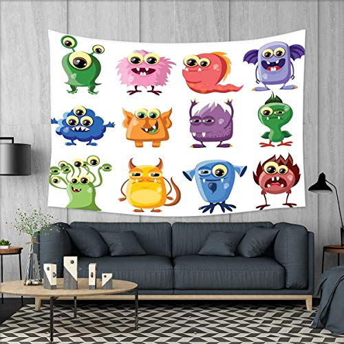 smallbeefly Funny Wall Hanging Tapestries Animated Bacteria Aliens Theme Germ Whimsical Cartoon Monsters Humor Faces Graphic Large tablecloths 84