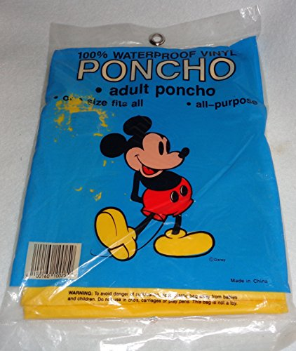 Mickey Mouse Rain Poncho Waterproof Vinyl - One Size Fits All Adult ()